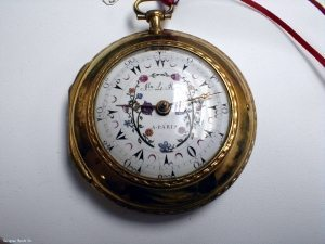 This is a Jln Le Roy, 4 cased, Verge fusee with a Turkish dial